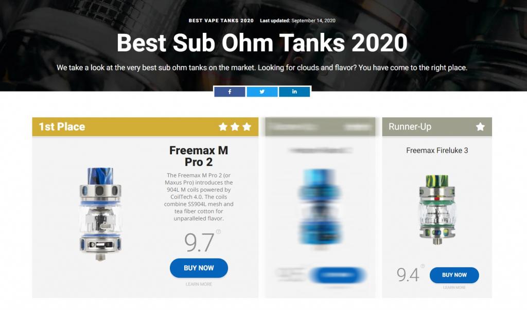 Freemax - Best Sub Ohm Tanks 2020