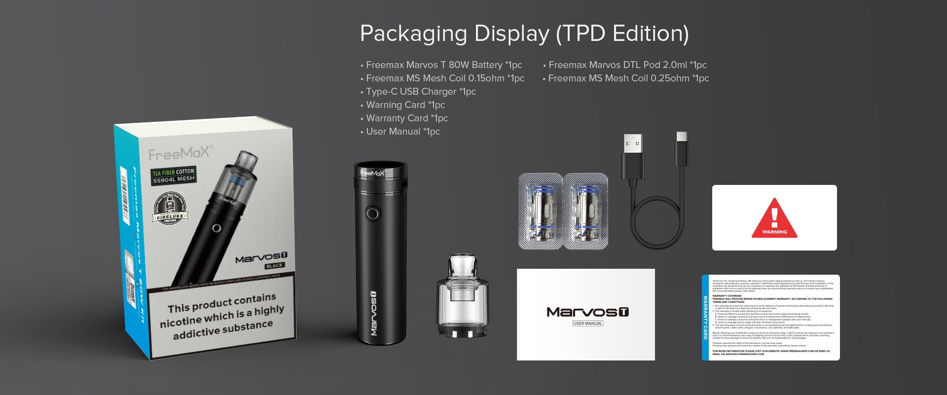 Marvos T 80W Kit - Packaging Display (TPD Edition)