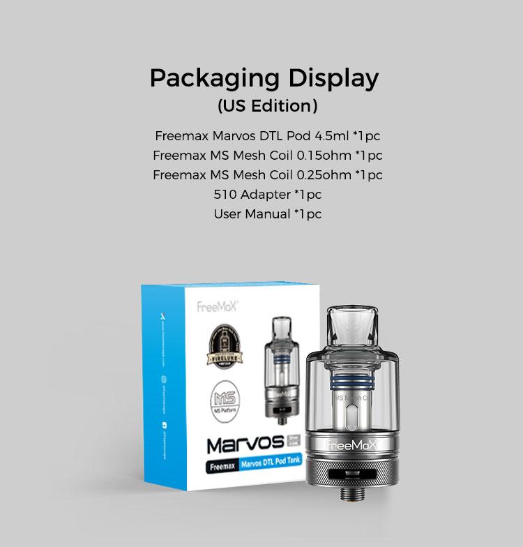 Marvos DTL Pod Tank - Packaging Display(US Edition)