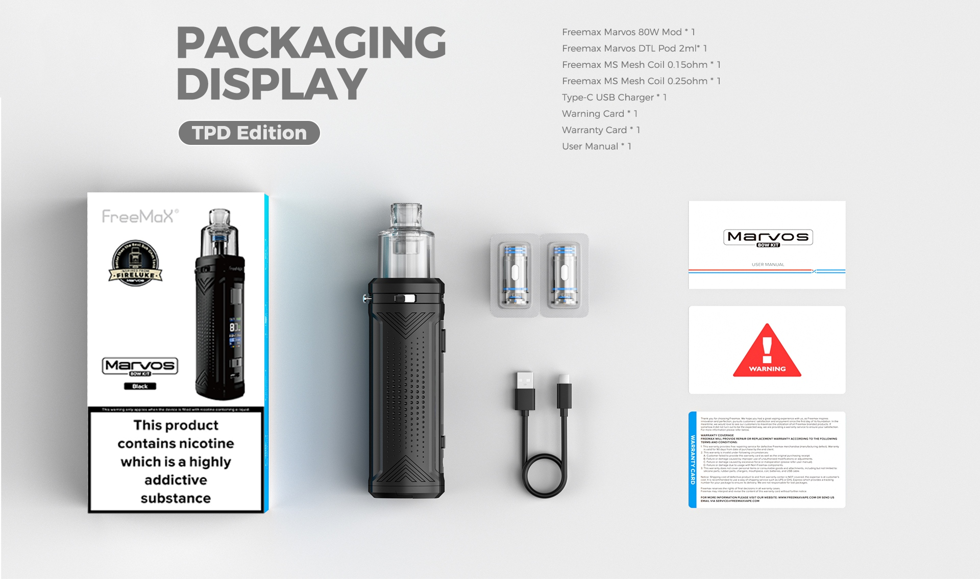 Marvos 80W - Packaging Display(TPD Edition)